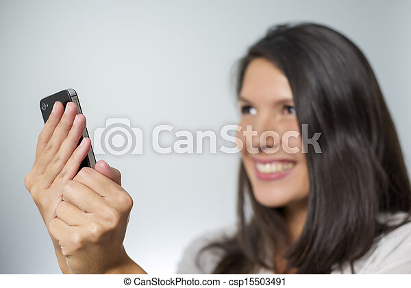 woman with smartphone - csp15503491