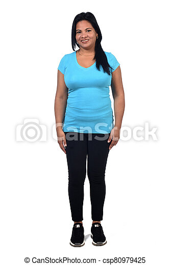 woman with sportswear on white background, - csp80979425