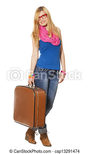 woman with suitcase at white background - csp13291474