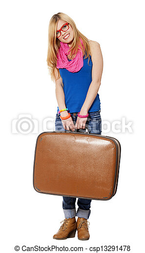 woman with suitcase at white background - csp13291478