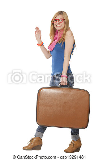 woman with suitcase at white background - csp13291481