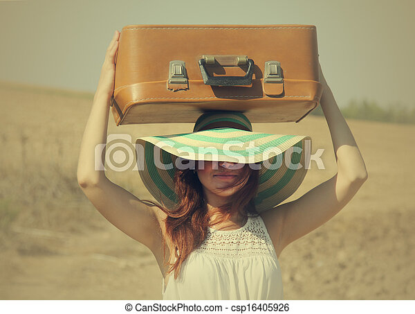 woman with suitcase - csp16405926