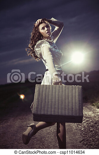 woman with suitcase - csp11014634