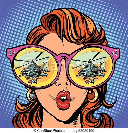 Woman with sunglasses. military helicopter in reflection - csp58020190