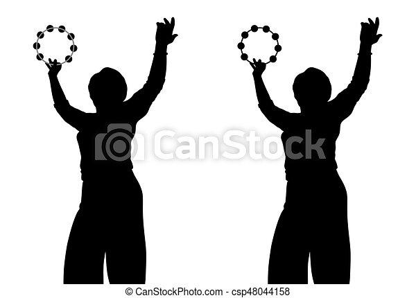 Woman with tambourine - csp48044158