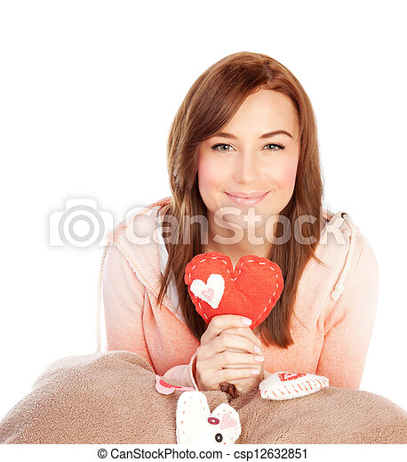 Woman with ted heart toy - csp12632851