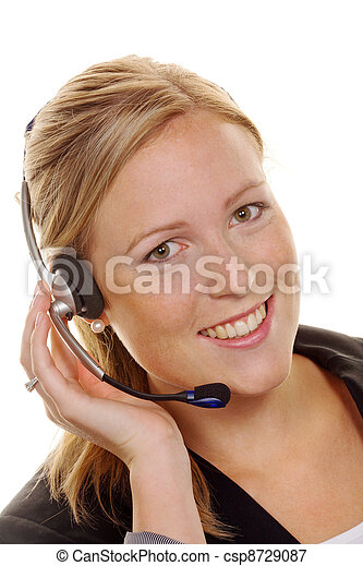 woman with telephone headset in customer service. order acceptance and hotline - csp8729087