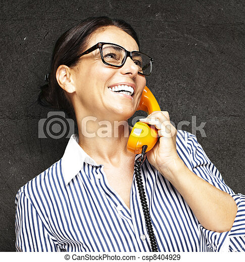 woman with telephone - csp8404929