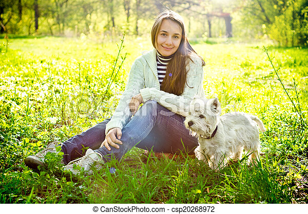 woman with terrier - csp20268972