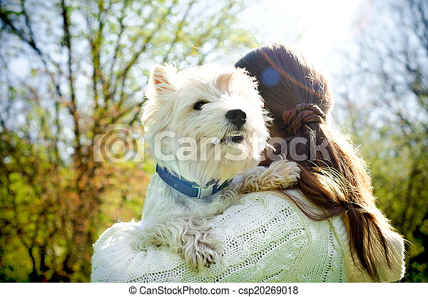 woman with terrier - csp20269018