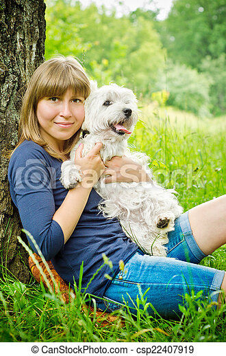 woman with terrier - csp22407919
