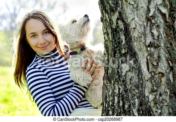 woman with terrier - csp20268987
