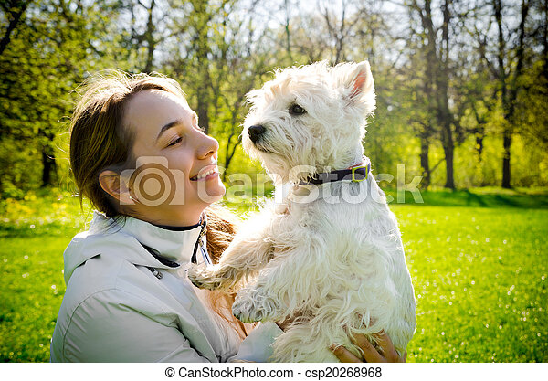 woman with terrier - csp20268968