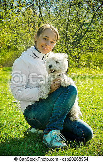 woman with terrier - csp20268954