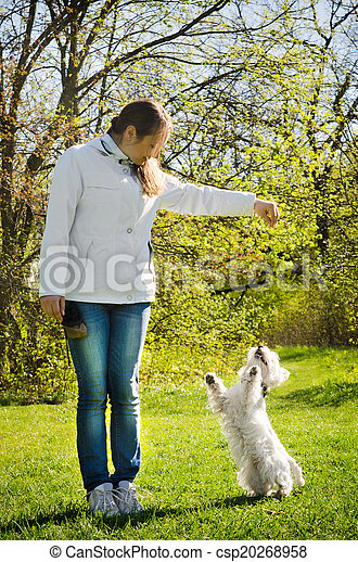 woman with terrier - csp20268958