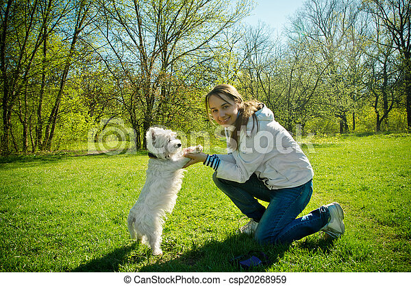 woman with terrier - csp20268959