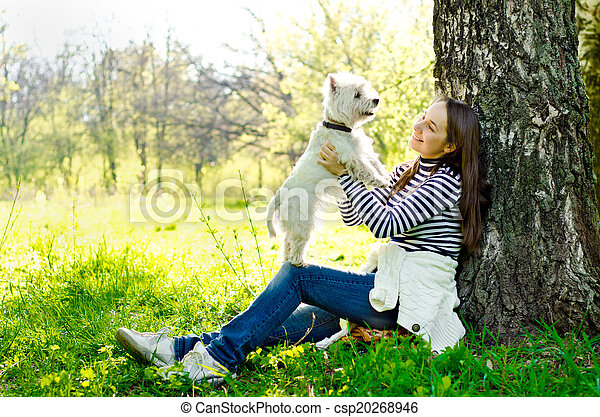 woman with terrier - csp20268946