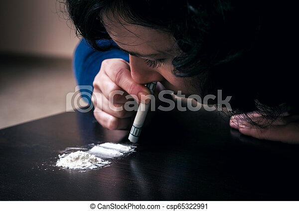 Woman with the drug addiction - csp65322991