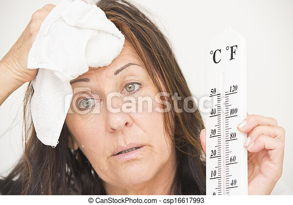 Woman with thermometer and sweat - csp16617993