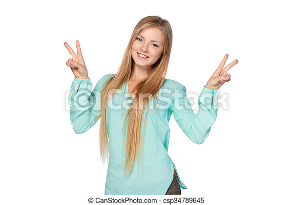 Woman with thumbs up gesture - csp34789645