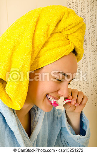 woman with toothbrush - csp15251272