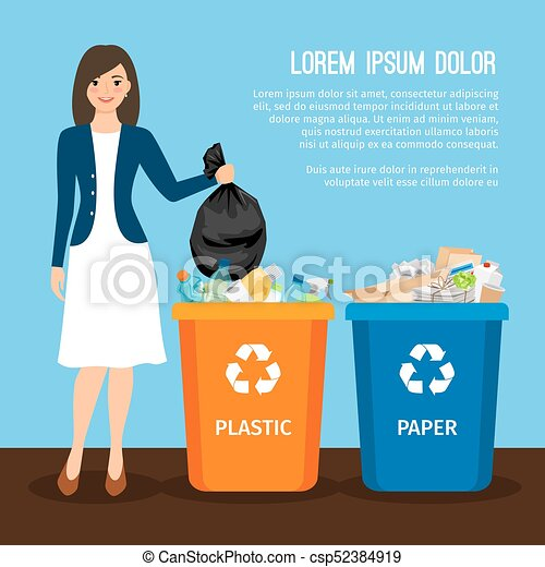 Woman with trash. Keep clean and garbage sorting concept - csp52384919
