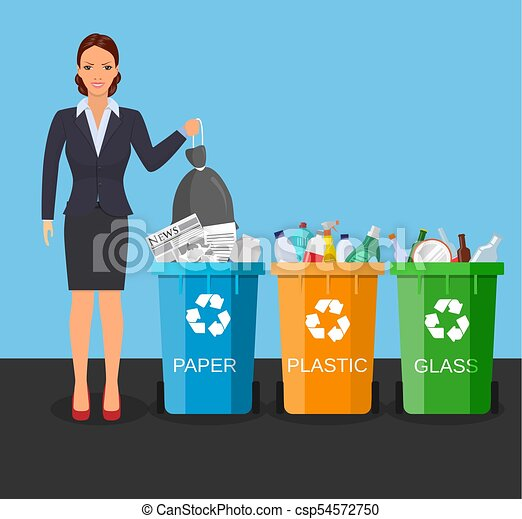 Woman with trash vector illustration. - csp54572750