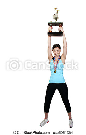 Woman with trophy  A beautiful woman wearing medals holding a large