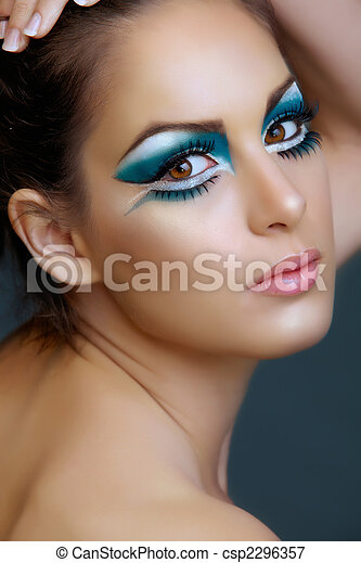 Woman with turquoise make-up. - csp2296357