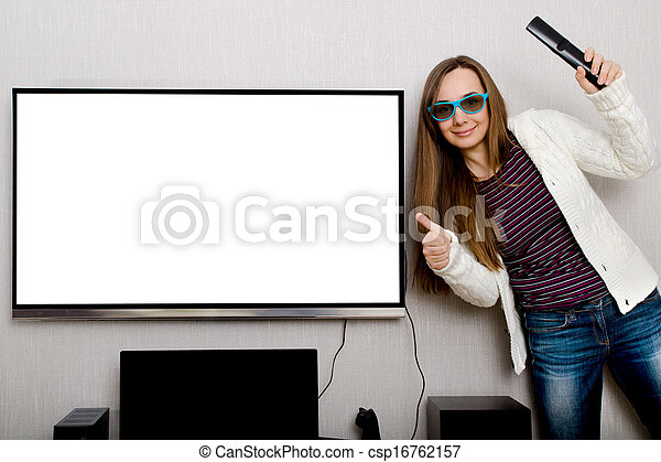 woman with tv - csp16762157