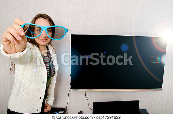 woman with tv - csp17291622