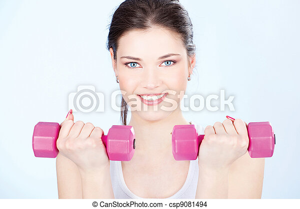woman with two weights - csp9081494