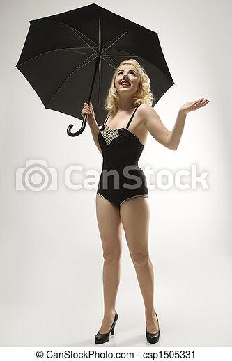 Woman with umbrella. - csp1505331