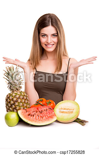 Woman with vegetables and fruits - csp17255828