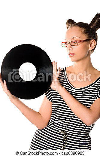 woman with vinyl plate - csp6390923