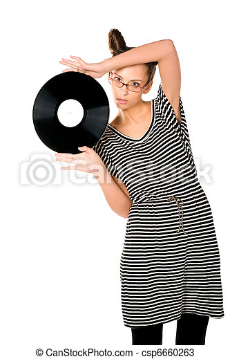 woman with vinyl plate - csp6660263