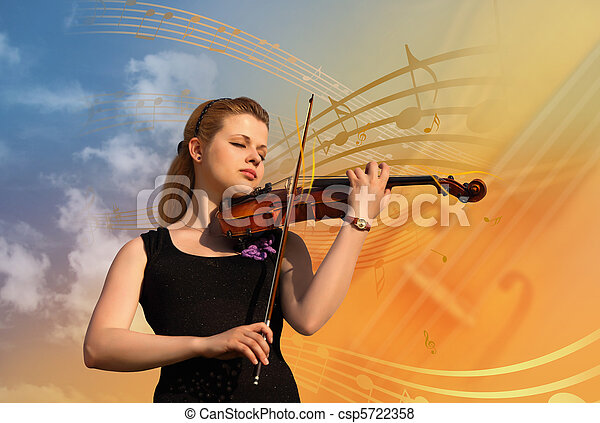 woman with violin collage - csp5722358
