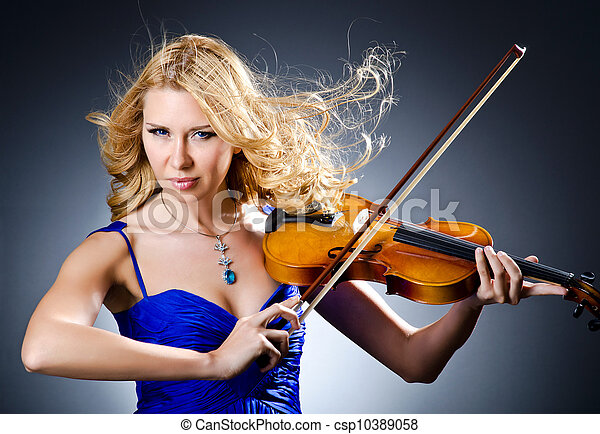 Woman with violin in studio - csp10389058