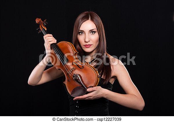 woman with violin - csp12227039