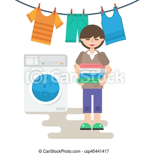 Woman with washed linen - csp45441417