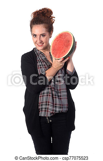 woman with watermelon on white background - csp77075523