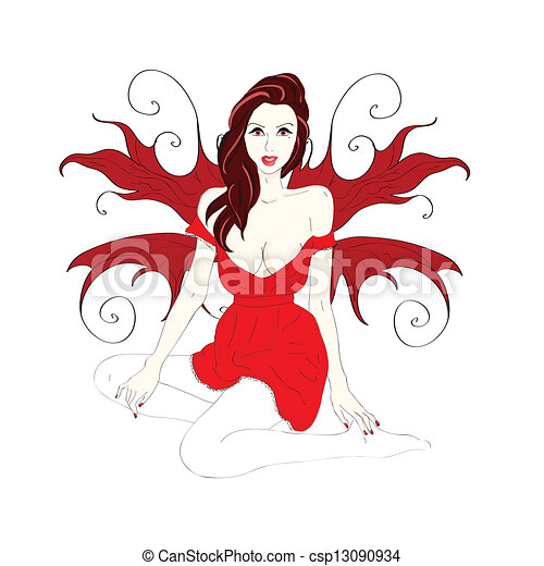 woman with wings in a short red dress - csp13090934