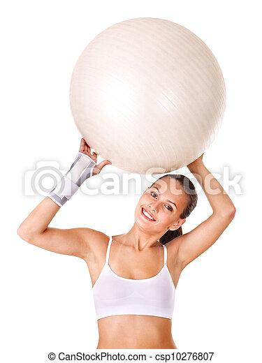 Woman with wrist brace. - csp10276807