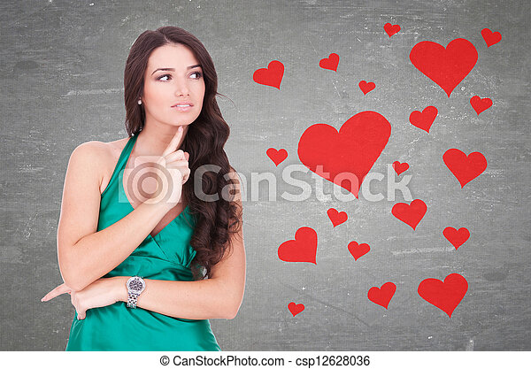 woman wondering how is it to be in love - csp12628036