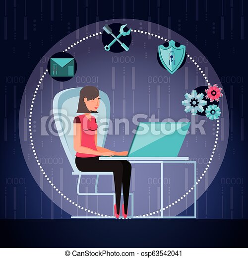 woman working and set icons business - csp63542041