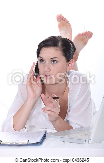 Woman working from home - csp10436245