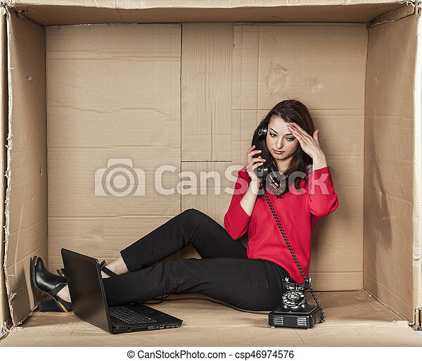 woman working in a call center - csp46974576