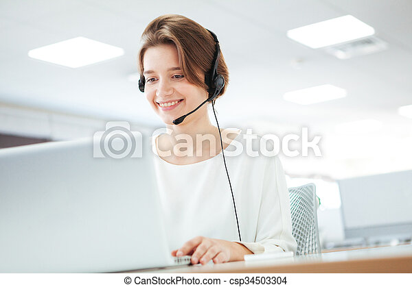 Woman working in call center - csp34503304