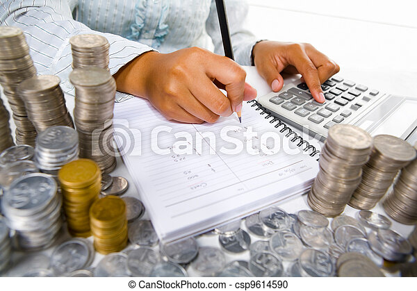 Woman working on accounting - csp9614590