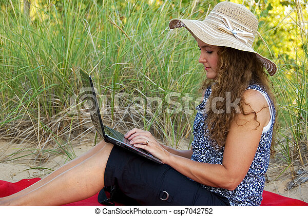 woman working on laptop - csp7042752